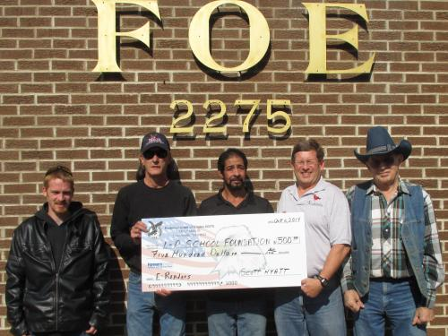 Donation from Fraternal Order of Eagles #2275
